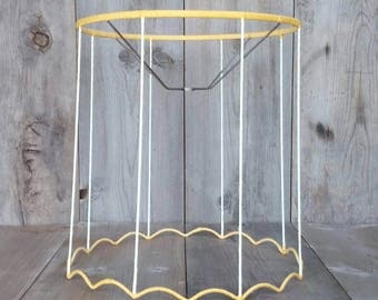 vintage lamp shade frame deconstructed lamp shade scalloped shabby chic boho chic rustic pendant lamp shade wireframe