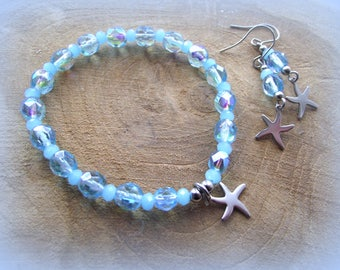 Jewelry set bracelet and earrings Starfish stainless steel cut glass turquoise