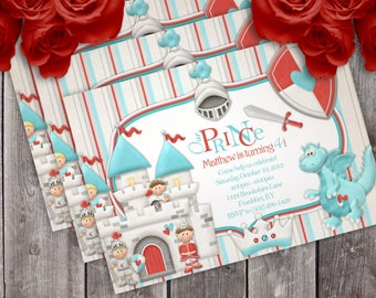 Sir Knight Prince Fairy Tale Birthday Party Invitation