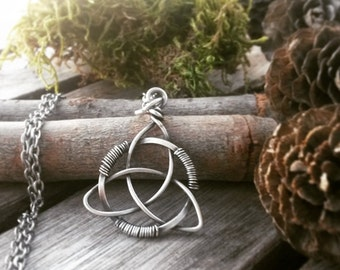 Celtic Triquetra pendant, wire wrapped sterling silver Celtic knotwork pendant, wicca pendant