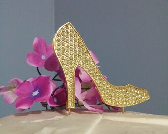 Gold Rhinestone  Stiletto Shoe Cupacke or Cake Topper birthday love wedding