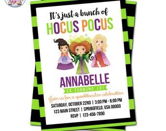 Hocus Pocus Invitation, Hocus Pocus Party, Editable Hocus Pocus Invitation, Hocus Pocus Birthday, Halloween, Witch Invitation