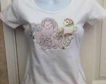 Retro My Little Pony Appliqué Customised T-shirt UK size 6