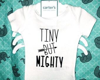 Tiny But Mighty | Boy Preemie One Piece | Ships Free. | Tiny But Mighty | Baby Shirt | Preemie One Piece | Boy Preemie Gif |NICU Gift