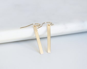 Delicate Bars Earrings, Simple Bar Earrings / 14k Gold Filled Earrings, Long Dangle / Minimalist and Modern, Everyday Earrings