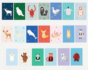 "20 Animal postcard set, 20 postcards + 2 Round Stickers, 4""x6"", Endangered Animals, Illustration, Art print"