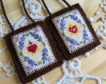 Brown Scapular with hand embroidery motif, Sacred and Immaculate Hearts, 100% Wool with cotton embroidery,