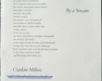 By a Stream, poetry broadside by Czeslaw Milosz