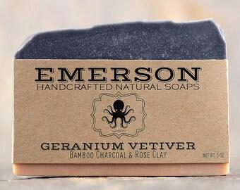Geranium Vetiver Soap  •  Vegan Soap, All Natural Soap, Handmade Soap, Cold Process Soap, Palm Free Soap, Charcoal Soap