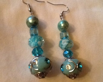 Elegant Shades of Blue Glass Bead Earrings