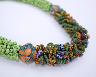 Krobo Beaded Necklace/ African Beads/ Statement Necklace/ Beads / Beaded Necklace