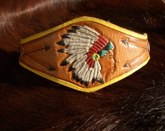 Custom Hand Tooled Indian Chief Leather Cuff