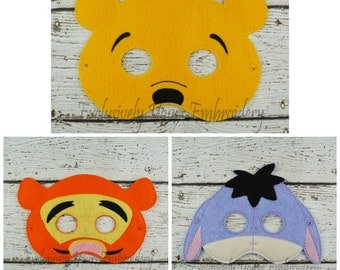 Honey Bear Bouncing Tiger and Sad Donkey Set of 3 Children's Felt Mask Set Costume Theater Dress Up Hallowen Children's Pretend Play