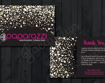 "Paparazzi Accessories - Gold/Pink/Sparkles - ""Thank You for Your Purchase"" Postcard - Customized - Double Sided - Printed - 4x6"