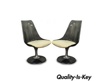 Pair of Vintage Chromcraft Smoked Lucite Swivel Dining Chairs Mid Century Modern