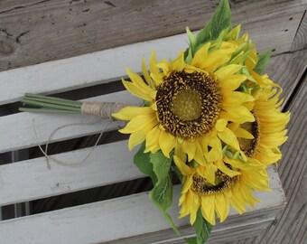 Sunflower Bouquet, Bridal Bouquet, Wedding Bouquet, Wedding Flowers, Artificial Wedding Bouquet, Bridal Flowers, Silk Flower Bouquet
