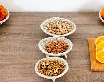 Set of 3 Ceramic White Fruit Bowls Rustic Table Decoration | White Bowl | Small pepper bowl | Decorative Bowls | Kitchen bowls, Rustic bowls