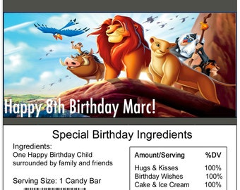 The Lion King birthday Candy Bar Wrapper