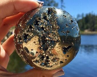 """2.2"""" Glistening Pyrite Sphere"""