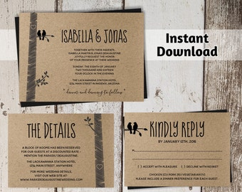 Wedding Invitation Template - Rustic Love Birds Printable Set - Lovebirds on Kraft Paper | Editable PDF Instant Download Digital File Suite