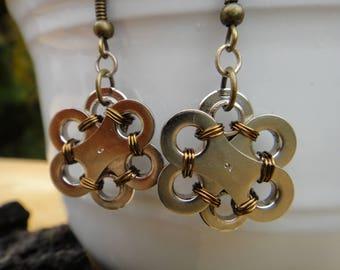 Up-cycled Bike Chain Earrings - The Metal Flower