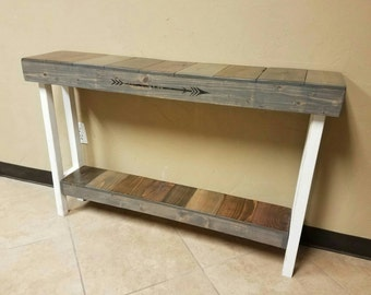 Farmhouse console table with white distressed finish and multi colored stain finish. Fixer upper table, rustic furniture