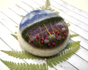 Needle felted brooch  Gift ideas for her Birthday gift Natural jewelry Ireland landscape Felted landscapes  Inspired by nature  wool jewelry