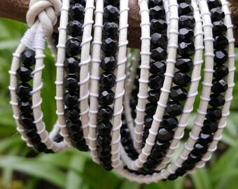 Black & white multi wrap leather bracelet