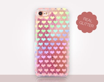 Rainbow Hearts Glitter Phone Case Clear Case For iPhone 8 iPhone 8 Plus - iPhone X - iPhone 7 Plus - iPhone 6 - iPhone 6S - iPhone SE