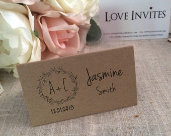 Rustic place card | wreath name card | wedding place setting | rustic wedding | table decor | table decorations | country wedding