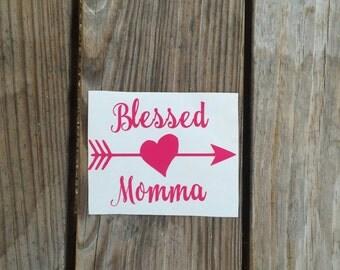Blessed Momma Vinyl Iron-On Decal~ Glitter Iron-On Vinyl Decal~ Iron-On Vinyl Decal