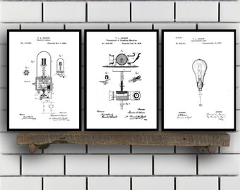 CANVAS Thomas Edison Patent Prints - Set of 3 - Light bulb Patent, Thomas Edison Poster, Thomas Edison Blueprint, Thomas Edison art
