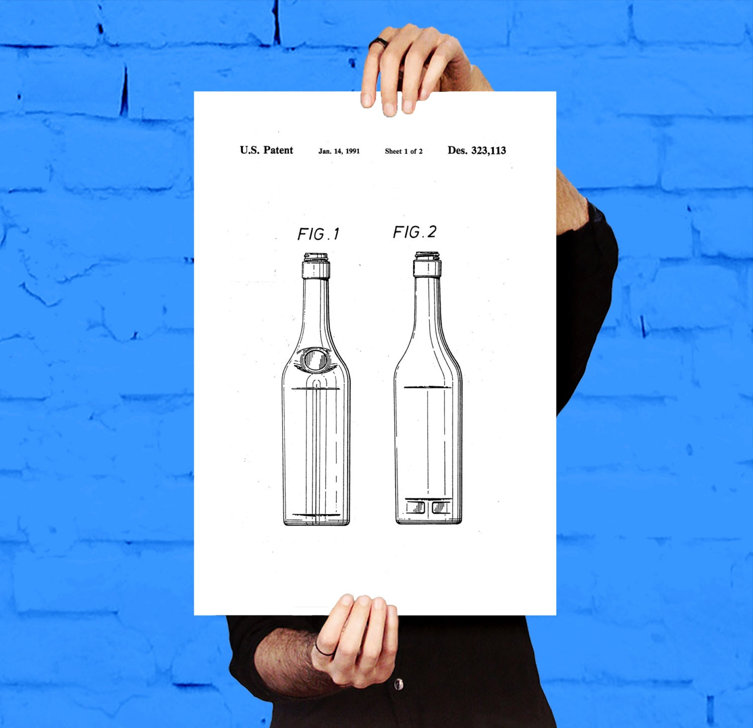 Bottle Patent Bottle Poster Bottle Blueprint Bottle