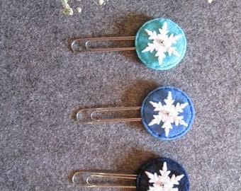 Set of 3 staples with snowflake; Clip Organizer felt; Bookmarks made of felt; Planner accessories; Gifts for readers