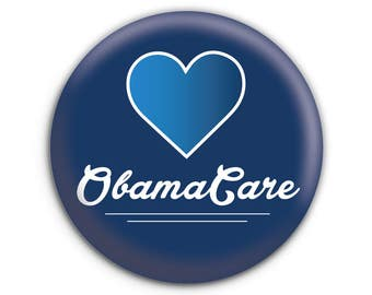 Heart Obamacare Pinback Button // Pin // Badge