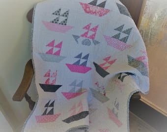 Patchwork Cot Quilt, Play Mat, Crib Quilt, Sailing Boats, Pink and Grey,
