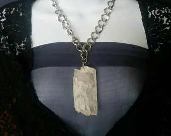 LARGE Crystal Selenite // Bohemian Statement Necklace  // Tribal Pendant // Gypsy Jewelry // Metaphysical Healing Stone // Gift for Her