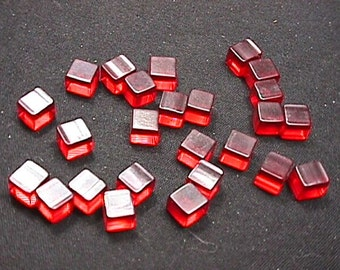 Twenty Five Vintage Red Lucite ? Undrilled Square Beads