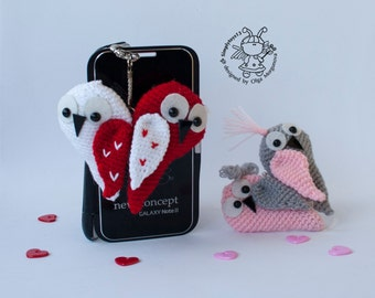 Keychain owl heart crochet pattern (two in one)- crochet pattern, amigurumi pattern. Valentine's Day Decor, pdf - Instant Download