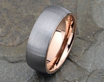 Tungsten Wedding Band, Brushed, Domed Rose Tungsten Ring, 8mm Wedding Band, Mens Wedding Ring, Laser Engraved Mens Ring, Anniversary Rin