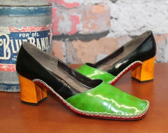 Vintage 1960's Andrew Geller Women's Multicolor Patent Leather Pumps Slip On Shoes Size 8.5--Made In Italy