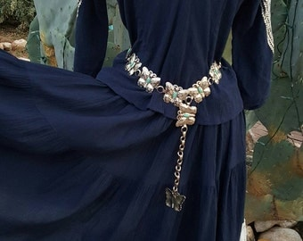 """Vintage Southwestern / Rockabilly  """"Squaw Skirt"""" and Blouse / Patio Skirt and Blouse Navy Blue with Silver Ribbon and Rick Rack Size XS/S"""