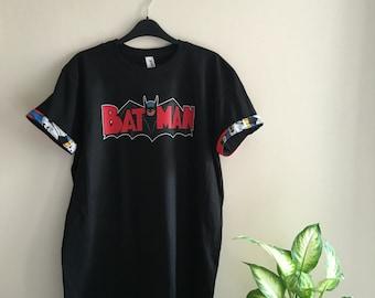 Batman tshirt   Custom batman tshirt, batman tee, retro print, printed, batman fabric, stitched sleeves, dc comics, customized sleeves.