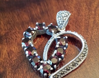 Sterling silver heart with garnet and marcasites