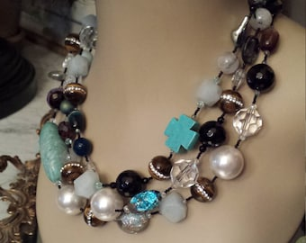 Three strand assorted semi precious stone inlaid tiger eye and turquoise necklace