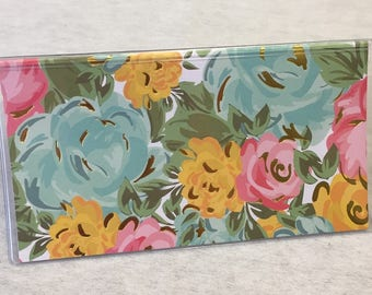 Vinyl Checkbook cover,Spring Floral with gold accent foil- Scrapbook style,Duplicate or Single Checks, No wait Ready to Ship