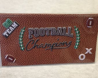Football Theme - Vinyl Checkbook cover,Scrapbook style,Duplicate or Single Checks, No wait Ready to Ship