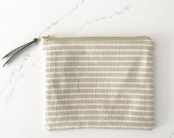 Mini clutch/ cosmetics farmhouse stripe
