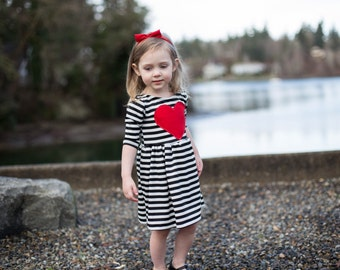 Red Heart Patch Dress - Toddler Dress - Baby Dress - Girls Dress - Girl Dress - Valentines Day Girl Dress - Girl Clothes - Valentines Outfit