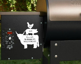 BBQ Grill Temperature Decal - Beef, Pork, Poultry. Cow, Pig, Chicken. Great for Traeger, Green Mountain Grill, Yoder, Mac Grills, Etc.